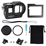 SUREWO Aluminum Case Frame,CNC Skeleton Housing with 52mm UV Filter Compatible with GoPro Hero(2018) 6/5 Black