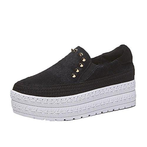 Mode Chaussures Rivet Creepers Baskets KJJDE Femme de WSXY A3221 Noir Plateformes à Accessoires rZwq8r