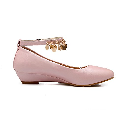 Pumps Shoes Metal Womens Urethane Wedges Buckles Charms Pink BalaMasa FRYqwH
