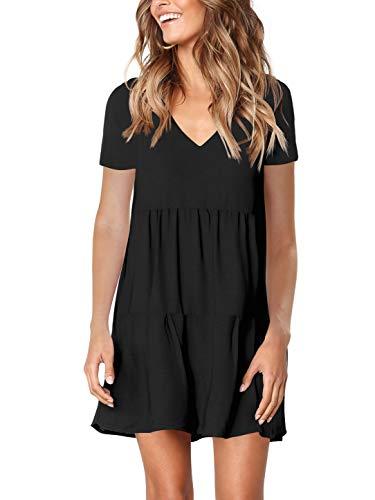Black Shift - Amoretu Women Short Sleeve Dresses for Summer Casual Tunic Shift Dress Black XXL