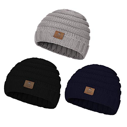 Zando Toddler Girls Winter Skull Beanie Caps Kids Beanie Boys Knit Hats Winter Fall Outfits for Baby Boy Girl 3 Pack Black Light Grey Navy Blue One -