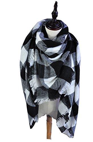 [Sundayrose Plaid Blanket Scarf Oversized Square Tartan Shawl Wrap - Black White] (Black And White Cape)