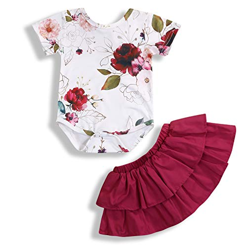 Newborn Baby Girls Clothing Set Short Sleeve Floral Romper + Skirt Summer Outfits 2Pcs -