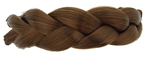 Making Waves Braided Faux Hair Ponytail Holder Barrette Clip (Light Brown) -