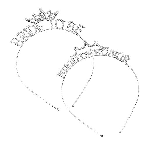 Rosemarie Collections Women's Bachelorette Party Tiara Headband (Bride Maid of Honor Set)