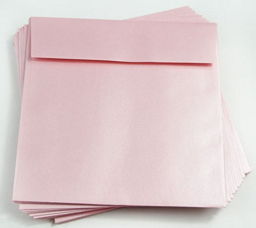 6 1/2 x 6 1/2 Rose Quartz Metallic Square Envelopes, Stardream 81lb, 25 pack (Stardream Shimmer Envelope)