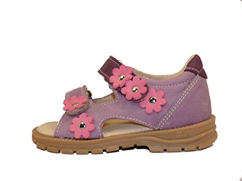 Supykids MIMI MI304/1 Lilas avec des Fleurs Filles Enfants Sandales en Cuir Supination Prévention de Pied Plat