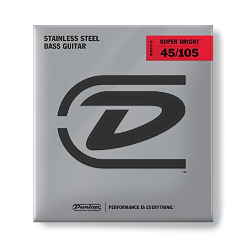 Dunlop DBSBS45105 Super Bright Bass Strings, Stainless Steel, Medium.045-.105, 4 Strings/Set - Bass Fat Beam Stainless Steel