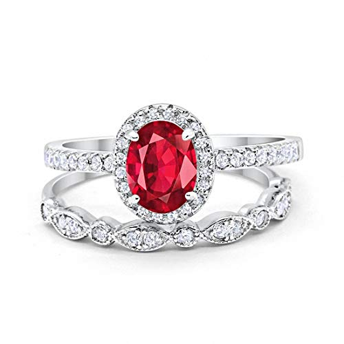Blue Apple Co. Halo 2-Piece Art Deco Wedding Engagement Bridal Set Ring Band Oval Simulated Ruby Round Cubic Zirconia 925 Sterling Silver, Size-8