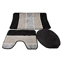 3 Piece Leaf Design Bath / Pedestal Bathroom Mat / Toilet Seat Cover Set (One Size) (Black/Grey)