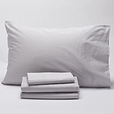 Coyuchi Organic Cotton Sateen Sheet Set - King Pale Gray