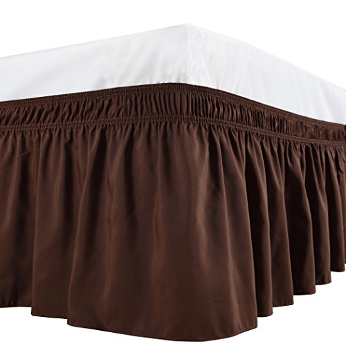 und Bed Skirt, Elastic Dust Ruffles, Easy Fit Wrinkle and Fade Resistant Durable Fabric, Chocolate, King Size, 15