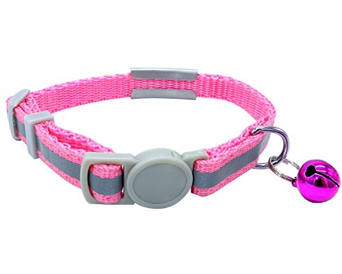 Picture of Vcalabashor Custom Cat Collars with Jingle Bell/Stainless Steel No Noise Slide-On Tags On Collar/3 Lines Personalized Text/Reflective