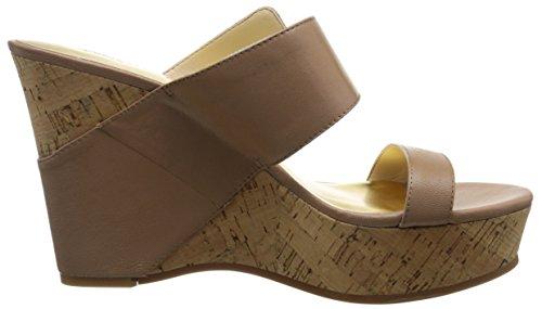 Nine West mujer sandalias de cuña de piel Berko Marrón topo