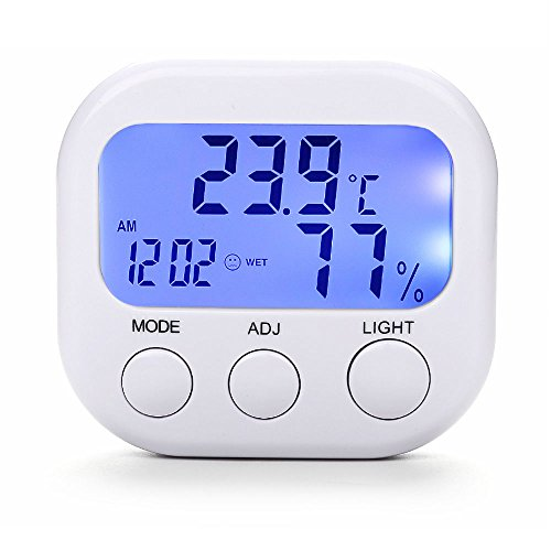 Price comparison product image HomEnjoy Digital Hygrometer Indoor Thermometer,  Electronic Mini Blue Backlight Humidity Temperature Gauge Monitor with Alarm Clock,  Wireless for House Pet Reptile Baby Kids