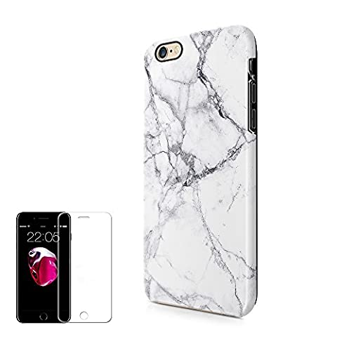 iPhone 6S 6 Plus Case (5.5inch) Obbii Unique Marble Design Hybrid Slim Hard Shell+ Inner TPU Protective Durable Cover Case Built-in Clear Screen Protector for iPhone 6S 6 Plus