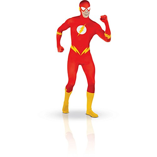 DC Comics Adult The Flash 2nd Skin Zentai Super Suit, Red, X-Large Costume