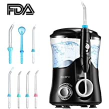 Water Flosser, ELLESYE Oral Irrigator 600ml with 7 Multifunctional Jet Tips, 3 Min Timer, Dental Water Flosser for Braces Care & Teeth Cleaning, Quiet Design for Adults & Kid Use