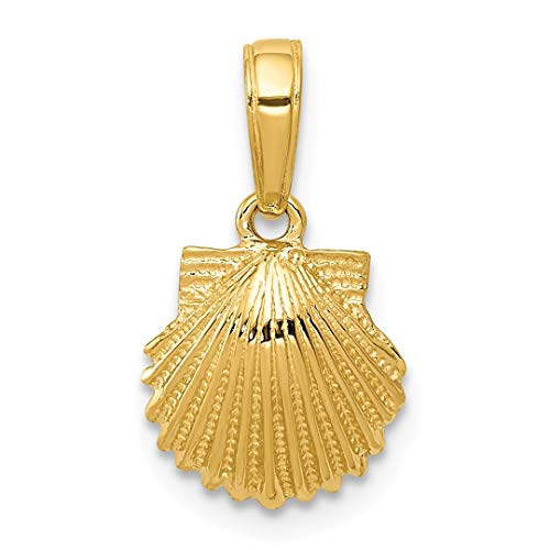 14k Yellow Gold Scallop Sea Shell Mermaid Nautical Jewelry Pendant Charm Necklace Shore Fine Jewelry For Women Gift Set