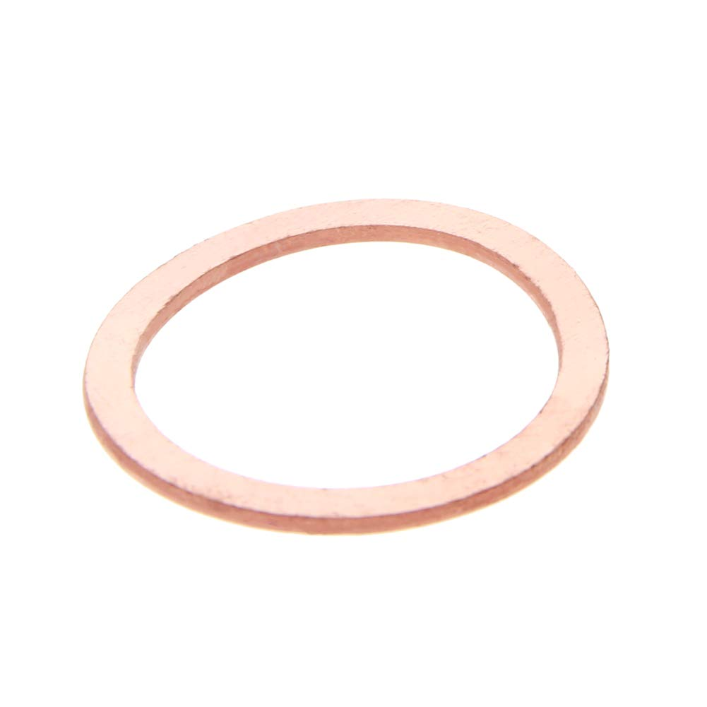 MroMax 10PCS Copper Flat M24 Round Ring 30mm OD 24mm ID 1.5mm Thick Washer Oil Brake Line Seal