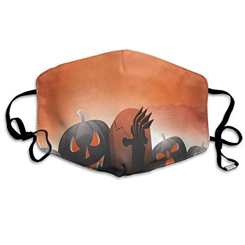 ZHOUSUN Dustproof Washable Reusable Scary Pumpkins On Shiny Halloween Mouth Cover Mask Respirator Germ Protective Safety Warm Windproof Mask]()