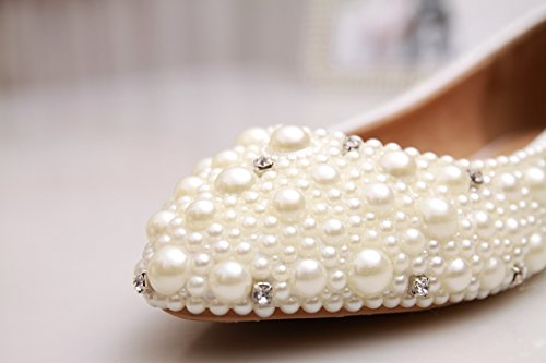 Evening Satin MINITOO UK Wedding Beaded Flats MZLL033 Prom Party Women's Handmade M 7 Ivory AX6w8CqX