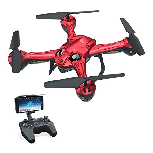 FPV RC Drone Quadcopter with 720P Camera Live Video Feed RC Quadcopter for Kids Beginners Lefant Zeraxa Pro RC Helicopter with Optical Flow Positioning,Headless Mode, 3D Flips and Waypoint Flight-Red
