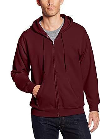 Hanes Men's Full-Zip Ecosmart Fleece Hoodie, Maroon, Small