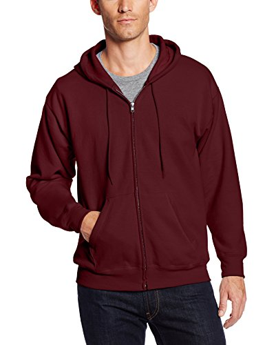 Hanes Men's Full-Zip Ecosmart Fleece Hoodie, Maroon, X Large (Cotton Blend Zip Sweatshirt)