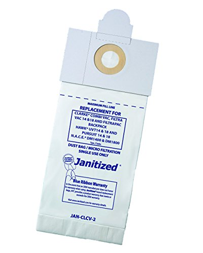 Janitized JAN-CLCV-2(10) Premium Replacement Commercial Vacuum Paper Bag for Clarke, N.A.C.E DM1400 and DM1800 Vacuum Cleaner, OEM#53430A and 50721 (Pack of 10)