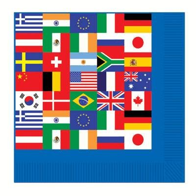 International Flags Beverage Party Napkins