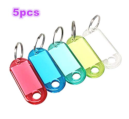 HuanX35 Assorted Color Coded Key Id Label Tags Split Ring Keyring Keychain Key Tag with Label Window (Style 1# 5PCS)