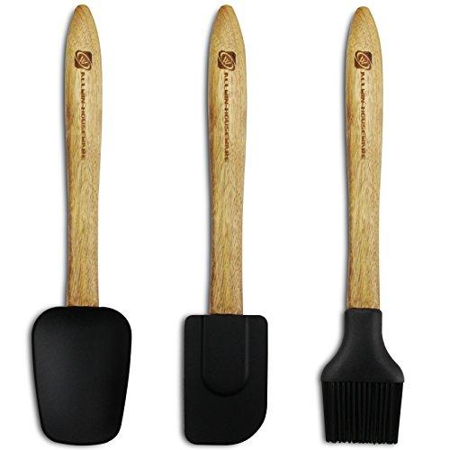 ALLWIN HOUSEWARE Brush Spoonula Spatula, 3 piece Heat Resistant Non-Stick Silicone Rubber Kitchen Utensils Set with ACACIA Wood Handle, Black
