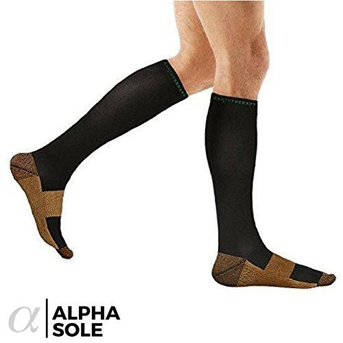 Alpha Copper Infused Compression Socks for Men and Women (3 Pairs), Perfect for Running, Athletic, Medical, Pregnancy and Travel - 15-20mmHg (Black, Large/X-Large) by AlphaSole (Image #4)