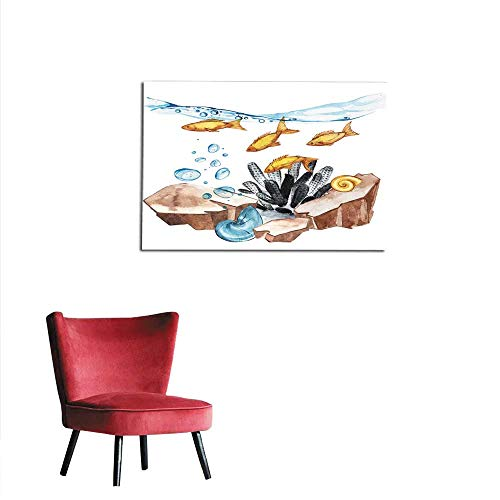 homehot Wall Picture Decoration Marine Life Landscape - The Ocean and The Underwater World with Different inhabitants Aquarium Concept for Posters T-Shirts Labels websites Postcards Mural 24