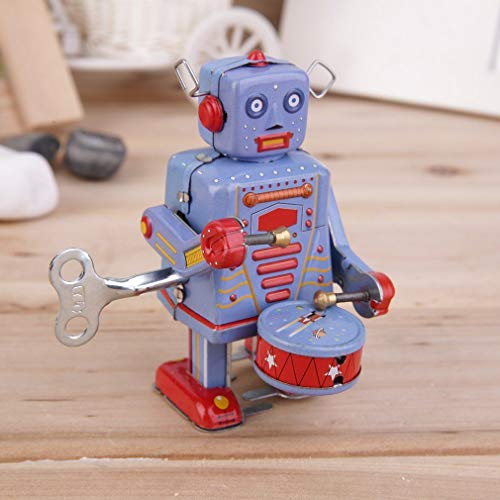 FidgetGear Vintage Metal Tin Drumming Robot Clockwork Wind Up Tin Toy Collectible DG from FidgetGear
