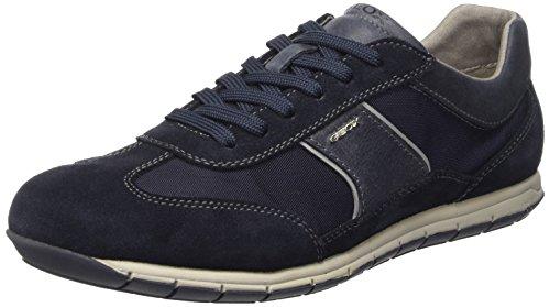 Geox Men's Uomo Active Fashion Sneaker, Navy Suede/Textile, 40 M US