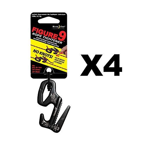 Nite Ize Figure 9 Rope Tightener Large Black Aluminum Tie Down Tool (4-Pack)