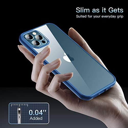 CASEKOO Crystal Clear Compatible with iPhone 12 Pro Max Case, [Never Yellow] [Military Grade Protection] Shockproof Protective Phone Case Slim Thin Cover 5G (6.7 inches) 2020- Pacific Blue