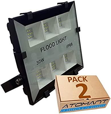 LA) Pack 2x Proyector LED compacto 30w, blanco frio (6500K), IP66 ...