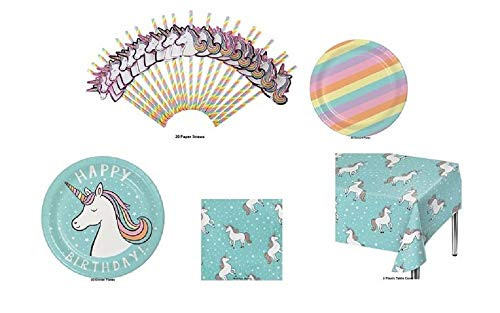 Happy Birthday Unicorn Theme Party Pack for 20 - Plates, Napkins, Straws, and Tablecover for $<!--$25.50-->
