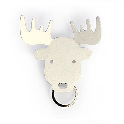 Moose Magnetic Keyring Holder by Qualy Design Studio. White Color Metal Key Hook. Cool Home Decor. Unique Gift. by Qualy