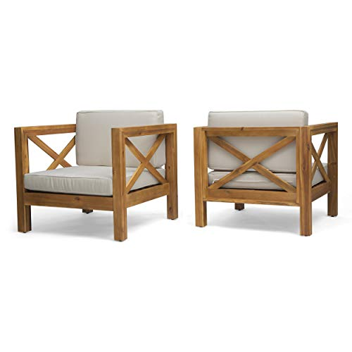 Indira Outdoor Acacia Wood Club Chairs with Cushions (Set of 2), Teak Finish and Beige (Club Set Chairs Two Of)