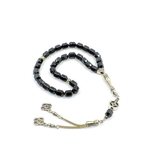 ALBATROSART Design -Black Hematit Beaded Collection -1 Worry Beads - Prayer Beads (8 mm-33 Beads) Tesbih-Tasbih-Tasbeeh-Misbaha-Masbaha-Subha-Sebha-Sibha-Rosary (Black Hematite New Design) ()