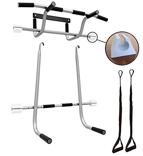 Triple Door Gym Ultimate 3 in 1 Doorway Trainer - Raised Height Pull Up Bar, Dips Bar & 2 Suspension Straps for A Total Body Home Workout, Screwless Installation On All Doors 24