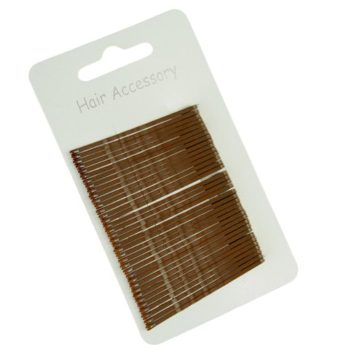 36 Brown Traditional Kirby Hair Grips Slides Clips Pins 5cm (2