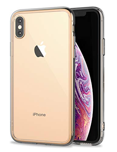 iPhone Xs Max Case,RORSOU Clear Hard 9H Tempered Glass Back [Anti-Scratch] + Soft TPU Bumper [Slim Thin] Premium Hybrid Protective Case for Apple iPhone Xs Max 6.5 Inch (2018) - Crystal Clear