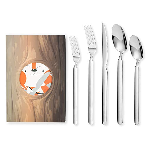 FlyingColors 20-Piece Silverware Flatware Cutlery Set, Stainless Steel Utensils Service for 4, Unique Squirrel Tail Design, Mirror Polished Tableware Set Include Knife/Fork/Spoon with Gift Box Package