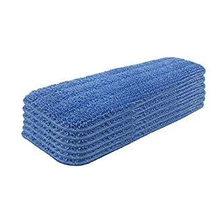 Set of 6 Microfiber Spray Mop Replacement Heads for Wet/Dry Mops Reusable Replacement Refills Fits for Bona Floor Care System - Blue
