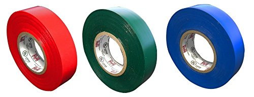 Morris Products Red, Green And Blue Colored Electrical Tape - 3 Rolls: Item # 60010 & 60040 & 60050 Colored Electric Tape FULL LENGTH 3/4
